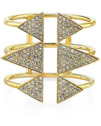 Anne Sisteron - 14kt Yellow Gold Diamond Triple Spike Ring - Lyst