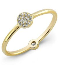 Anne Sisteron - 14kt Yellow Gold Diamond Mini Disc Ring - Lyst