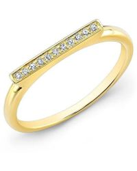 Anne Sisteron - 14kt Yellow Gold Diamond Long Bar Ring - Lyst