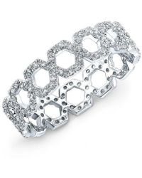 Anne Sisteron - 14kt White Gold Diamond Mini Lattice Ring - Lyst