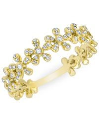 Anne Sisteron 14kt Yellow Gold Diamond Baguette Curved Bar Delilah Ring - Metallic