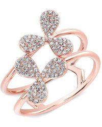 Anne Sisteron - 14kt Rose Gold Diamond Petal Knuckle Ring - Lyst