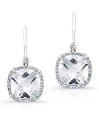 Anne Sisteron - 14kt White Gold White Topaz Diamond Cushion Cut Earrings - Lyst