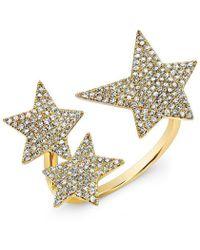 Anne Sisteron - 14kt Yellow Gold Diamond Triple Star Ring - Lyst