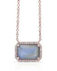 Anne Sisteron | 14kt Rose Gold Rectangle Labradorite Diamond Necklace | Lyst