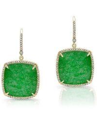 Anne Sisteron - 14kt Yellow Gold Jade Cushion Cut Diamond Earrings - Lyst