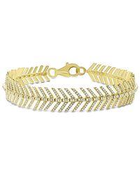 Anne Sisteron 14kt Yellow Gold Diamond Feather Bracelet - Metallic