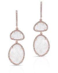 Anne Sisteron - 14kt Rose Gold Moonstone Diamond Splendor Earrings - Lyst