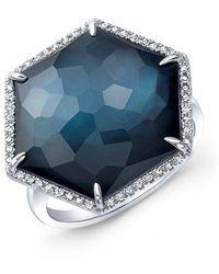 Anne Sisteron - 14kt White Gold Dark Azul Diamond Hexagon Cocktail Ring - Lyst