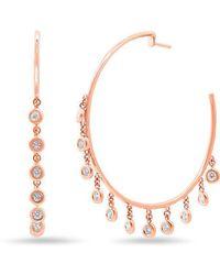 Anne Sisteron - 14kt Rose Gold Diamond Droplets Nile Hoop Earrings - Lyst