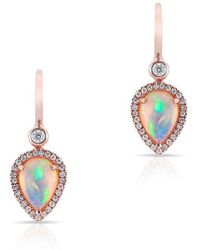 Anne Sisteron | 14kt Rose Gold Opal Diamond Pear Drop Earrings | Lyst