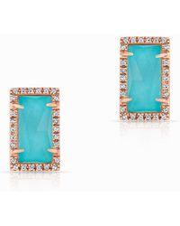 Anne Sisteron | 14kt Rose Gold Diamond Turquoise Sara Stud Earrings | Lyst