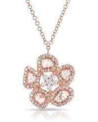 Anne Sisteron - 14kt Rose Gold Mae Medium Flower Diamond Slice Necklace - Lyst