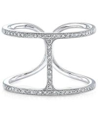 Anne Sisteron - 14kt White Gold Diamond H Ring - Lyst