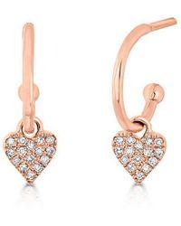 Anne Sisteron - 14kt Rose Gold Diamond Heart Aubrielle Huggie Earrings - Lyst