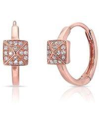 Anne Sisteron - 14kt Rose Gold Diamond Pyramid Huggie Earrings - Lyst