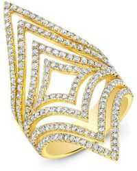 Anne Sisteron - 14kt Yellow Gold Diamond Chevron Cutout Ring - Lyst
