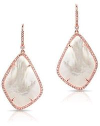 Anne Sisteron - 14kt Rose Gold Mother Of Pearl Organic Diamond Earrings - Lyst