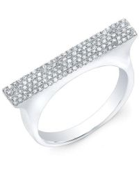 Anne Sisteron - 14kt White Gold Diamond Thick Bar Ring - Lyst