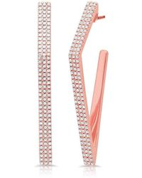 Anne Sisteron - 14kt Rose Gold Diamond Edgy Wishbone Earrings - Lyst