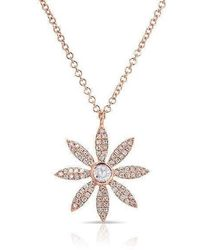 Anne Sisteron - 14kt Rose Gold Diamond Edgy Daisy Flower Necklace - Lyst