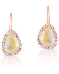Anne Sisteron - 14kt Rose Gold Diamond Moonstone Organic Wireback Earrings - Lyst