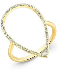 Anne Sisteron - 14kt Yellow Gold Diamond Open Pear Ring - Lyst