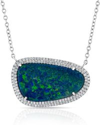 Anne Sisteron - 14kt Yellow Gold Organic Oval Opal Diamond Necklace - Lyst