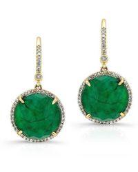 Anne Sisteron | 14kt Yellow Gold Emerald Diamond Round Earrings | Lyst