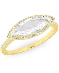 Anne Sisteron - 14kt Yellow Gold Diamond Topaz Marquis Miranda Ring - Lyst
