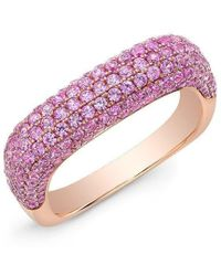 Anne Sisteron - 14kt Rose Gold Pink Sapphire Square Ring - Lyst
