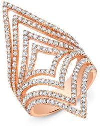 Anne Sisteron - 14kt Rose Gold Diamond Chevron Cutout Ring - Lyst