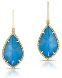 Anne Sisteron - 14kt Yellow Gold Blue Apatite Mini Leaf Diamond Earrings - Lyst