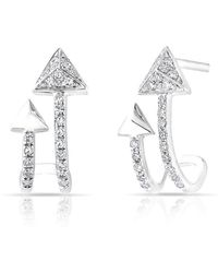 Anne Sisteron 14kt Rose Gold Diamond Curved Arrow Huggie Earrings - Multicolor