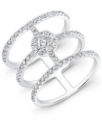 Anne Sisteron - 18kt White Gold Diamond Fleur Ring - Lyst
