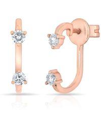Anne Sisteron - 14kt Rose Gold Diamond Demi Earrings - Lyst
