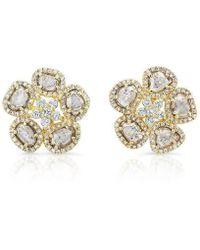 Anne Sisteron - 14kt Yellow Gold Diamond Slice Mae Flower Earrings - Lyst