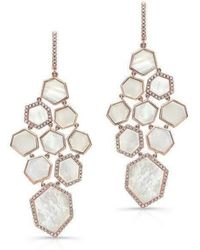 Anne Sisteron - 14kt Rose Gold White Mother Of Pearl Diamond Chandelier Earrings - Lyst