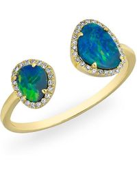 Anne Sisteron - 14kt Yellow Gold Opal Diamond Doublet Ring - Lyst