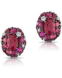 Anne Sisteron - 14kt Rose Gold Ruby Diamond Bijou Earrings - Lyst