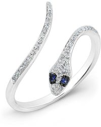 Anne Sisteron | 14kt White Gold Diamond Slytherin Ring With Blue Sapphire Eyes | Lyst
