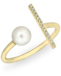 Anne Sisteron - 14kt Yellow Gold Diamond Bar And Pearl Open Tori Ring - Lyst