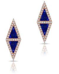 Anne Sisteron - 14kt Rose Gold Lapis Diamond Double Triangle Stud Earrings - Lyst