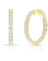 Anne Sisteron - 14kt Yellow Gold Diamond Small Bella Hoop Earrings - Lyst