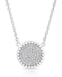 Anne Sisteron - 14kt White Gold Diamond Large Scalloped Disc Necklace - Lyst