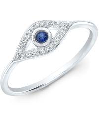 Anne Sisteron 14kt White Gold Diamond Sapphire Open Evil Eye Ring - Metallic