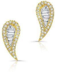 Anne Sisteron - 14kt Yellow Gold Baguette Diamond Paisley Stud Earrings - Lyst
