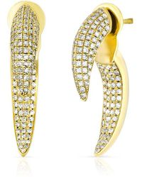 Anne Sisteron - 14kt Yellow Gold Diamond Sabre Earrings - Lyst