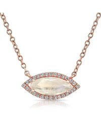 Anne Sisteron - 14kt Rose Gold Moonstone Diamond Mini Marquis Necklace - Lyst