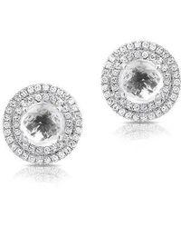 Anne Sisteron - 14kt White Gold White Topaz Diamond Sonrisa Stud Earrings - Lyst